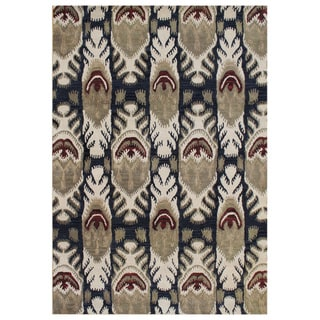 Handmade Ikat Black Olive Blend Wool Area Rug (9' x 12')