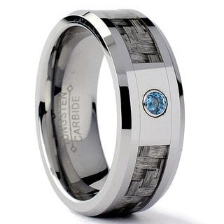 Tungsten Carbide Men's Gray Carbon Fiber Inlay Aquamarine Ring