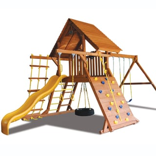 Superior Play Systems Original Playcenter Wood Roof Wooden Swing Set