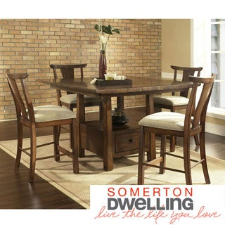 Somerton Dwelling Dakota Warm Brown Contemporary Asian 5-piece Dining Set