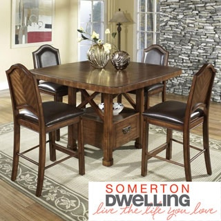 Somerton Dwelling Barrington Distressed Satin Brown 5-piece Dining Set