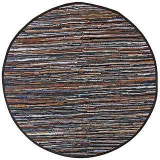 Hand-woven Matador Mix Brown Leather Rug (6' Round)