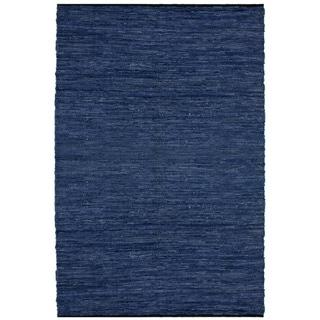 Hand-woven Matador Blue Leather Rug (10' x 14')
