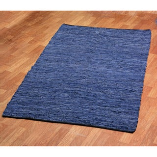 Hand-woven Matador Blue Leather Rug (10' x 14')