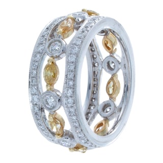 14k Two-tone Gold 1 4/5ct TDW Bezel White and Yellow Diamond Band (I-J, I1-I2)
