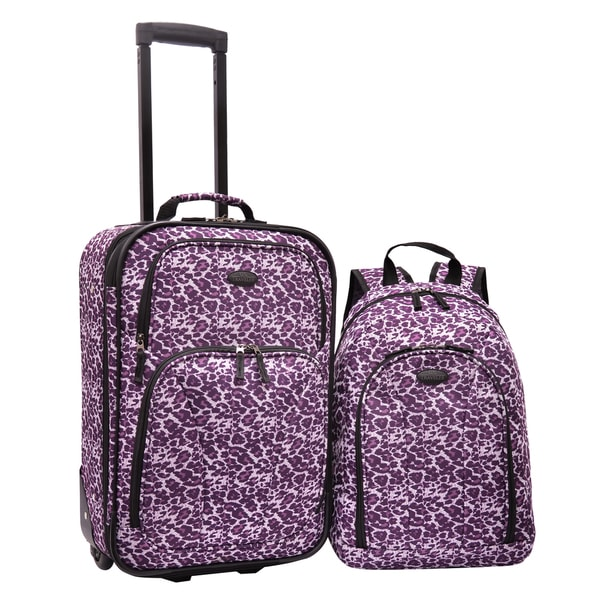 U.S. Traveler 2-piece Fashion Leopard Carry-on Rolling Upright and Backpack Luggage Set