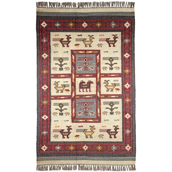 Hand Woven Tribal Wool and Jute Rug