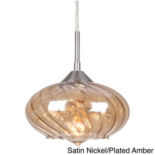 'Pulsar' Curved Glass 1-light Mini Swivel Point Pendant