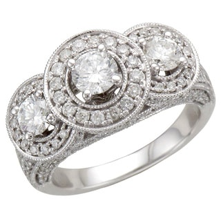 14k White Gold 2ct TDW Vintage Inspired Three Stone Diamond Ring (I-J, I1-I2)