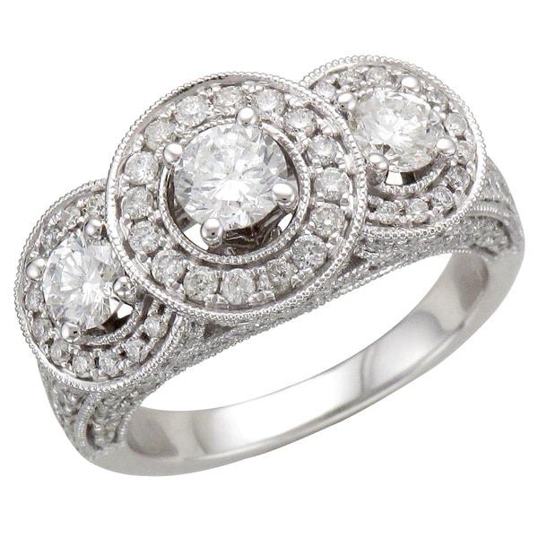 Unending Love 14k White Gold 2ct TDW Vintage Inspired Three Stone Diamond Ring (I-J, I1-I2)