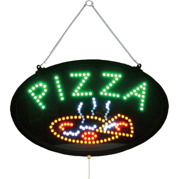 Winco 3-setting Pizza LED Sign with Transparent Dust Cover