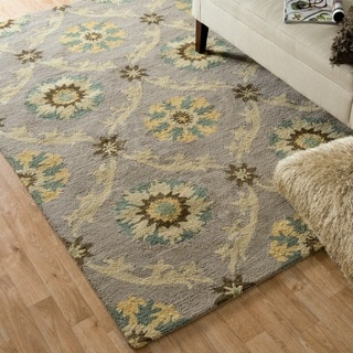 Hand-hooked Tessa Light Grey Wool Rug (9'3 x 13')