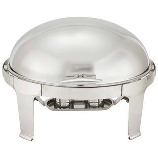 Winco 7-quart 'Madison' Stainless Steel Oval Roll-top Chafing Dish