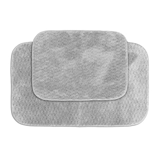 Enliven Textured Platinum Grey Bath Rug Set of 2