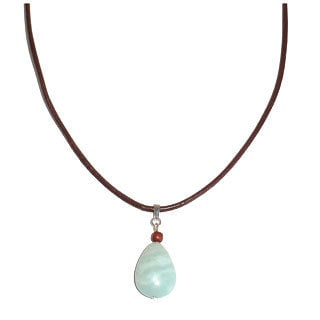 Every Morning Design Amazonite Drop On Leather Necklace