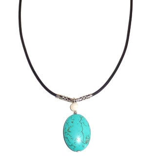 Every Morning Design Blue Turquoise Oval On Leather Necklace