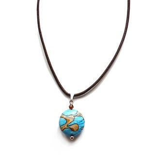Every Morning Design Blue Planet Leather Necklace