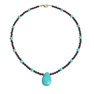Turquoise Drop On Brecciated Jasper Necklace