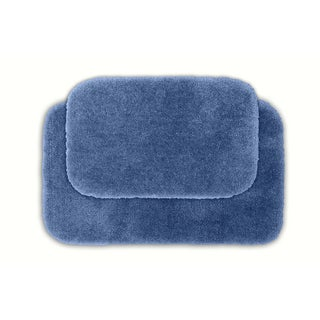 Somette Posh Plush Basin Blue Bath Rug (Set of 2)