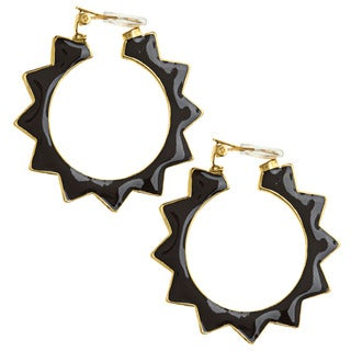 Kenneth Jay Lane Black Geometric Hoop Earrings
