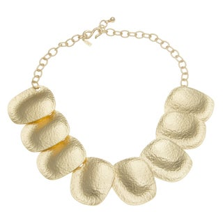 Kenneth Jay Lane Goldtone Hammered Bib Necklace