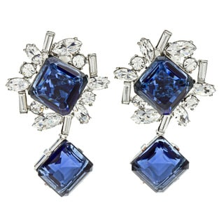 Kenneth Jay Lane Blue Crystal Earrings