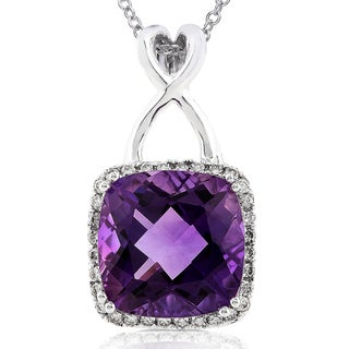 Annello 14k White Gold Amethyst and 1/4ct TDW Diamond Necklace (H-I