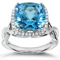 Annello 14k White Gold Blue Topaz and 1/4 ct TDW Diamond Ring (H-I, I1-I2)
