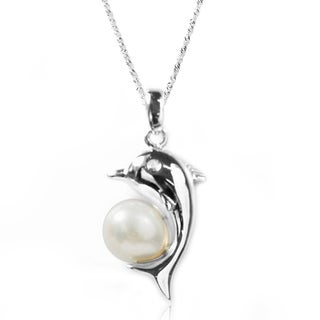 De Buman Sterling Silver Freshwater Pearl and CZ Dolphin Necklace (8-9 mm)