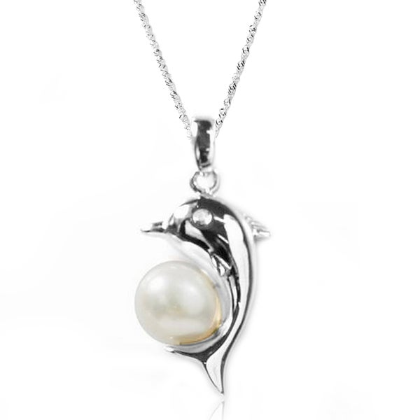 De Buman Sterling Silver Cultured Freshwater Pearl and CZ Dolphin Necklace (8-9 mm)