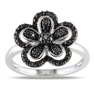 Miadora Sterling Silver Black and White Diamond Flower Ring