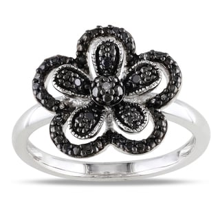 M by Miadora Sterling Silver Black and White Diamond Flower Ring