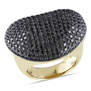 Miadora 14k Yellow Gold 3ct TDW Black Diamond Cocktail Ring