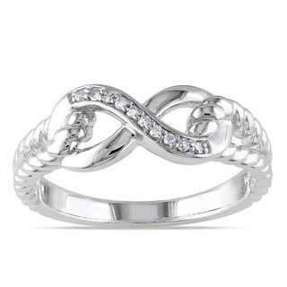 Miadora Sterling Silver Diamond Infinity Ring