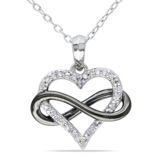 Miadora Sterling Silver 1/10ct TDW Diamond Heart Infinity Necklace