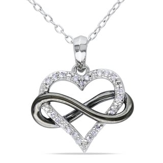 M by Miadora Sterling Silver 1/10ct TDW Diamond Heart Necklace