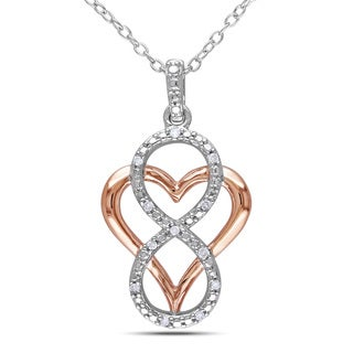 Miadora Two-tone Silver Diamond Heart Infinity Necklace