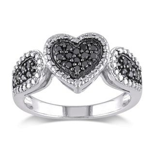 Miadora Sterling Silver 1/4ct TDW Black Diamond Heart Ring