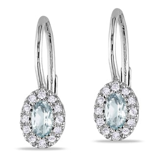 Miadora Silver Aquamarine and 1/8ct TDW Diamond Earrings (H-I, I2-I3)