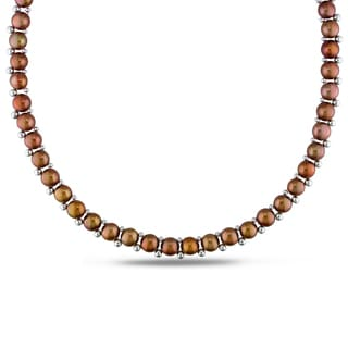 M by Miadora Sterling Silver Bead and Brown Cultured Freshwater Pearl Necklace (6-7 mm)
