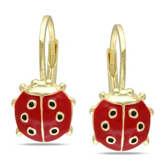 M by Miadora 18k Goldplated Silver Children's Ladybug Earrings
