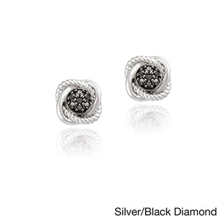 DB Designs Sterling Silver 1/6ct TDW Colored Diamond Love Knot Earrings
