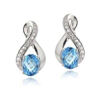 Glitzy Rocks Sterling Silver Swiss Blue Topaz and CZ Infinity Earrings