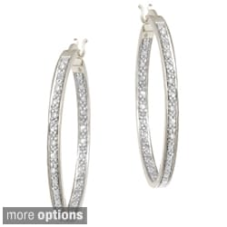 DB Designs Rhodium-plated 1/10ct TDW Diamond Hoop Earrings (I-J, I2-I3)