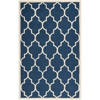 Geometric Safavieh Handmade Cambridge Moroccan Navy Wool Rug (4' x 6')