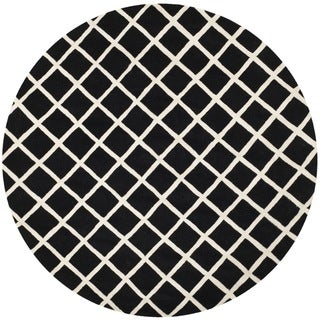Handmade Moroccan Black Wool Rug with Durable Backing (7' Round)