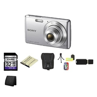 Sony Cyber-Shot DSC-W620 14.1MP Silver Digital Camera 32GB Bundle