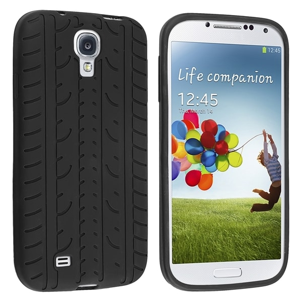INSTEN Black Tyre Soft Silicone Phone Case Cover for Samsung Galaxy S IV/ S4 i9500