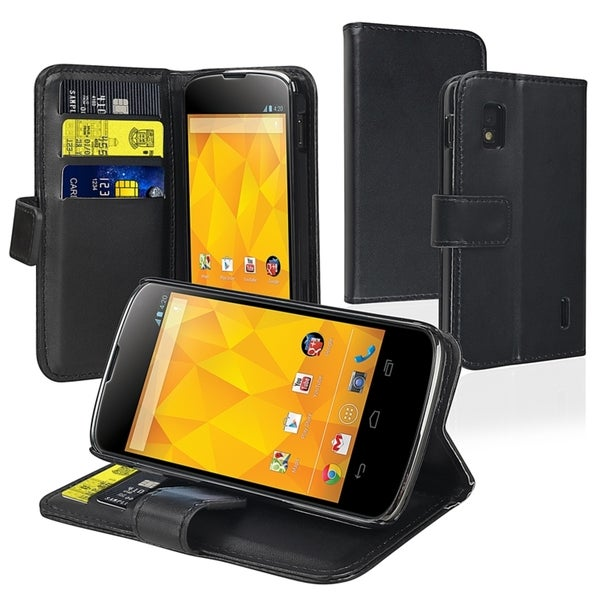 BasAcc Black Leather Wallet Case for LG Nexus 4 E960
