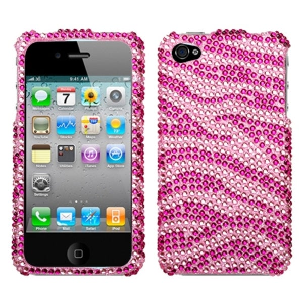 INSTEN Pink/ Hot Pink Diamante Phone Case Cover for Apple iPhone 4/ 4S